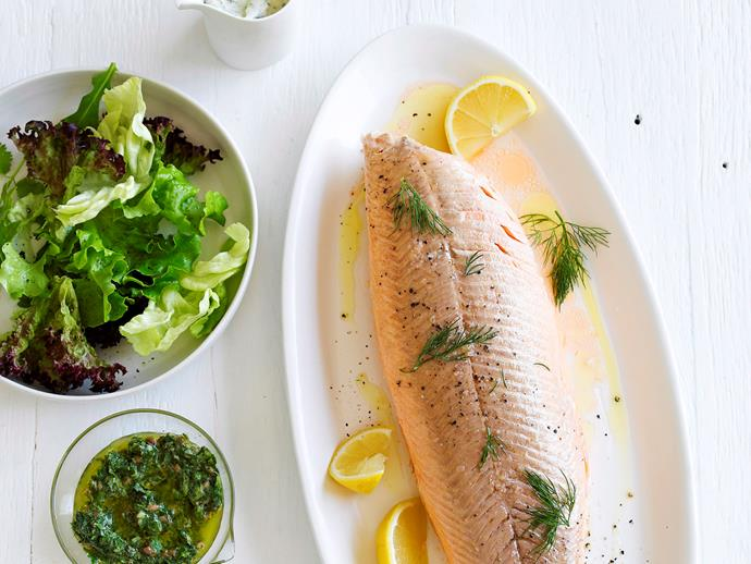 "[Poached salmon](http://www.foodtolove.com.au/recipes/poached-salmon-7390|target=""_blank"")"