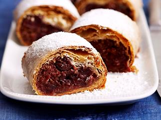 Coconut cherry strudel