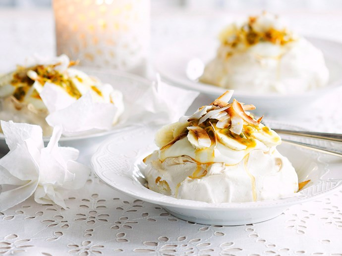 [Coconut pavlovas with banana and passionfruit](http://www.foodtolove.com.au/recipes/coconut-pavlovas-with-banana-and-passionfruit-4753).