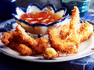 Coconut prawns with two dipping sauces