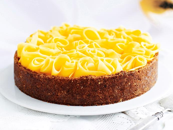 """This [ginger cheesecake](https://www.womensweeklyfood.com.au/recipes/ginger-cheesecake-with-fresh-mango-27102
