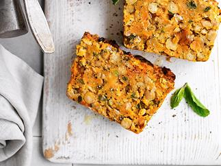 Kumara and chickpea loaf with mint raita