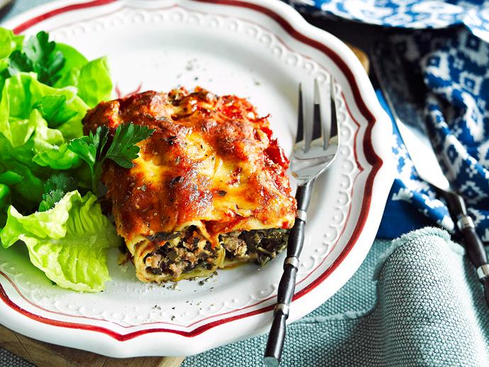 "**[Lamb and silverbeet cannelloni](https://www.womensweeklyfood.com.au/recipes/lamb-and-silverbeet-cannelloni-27468|target=""_blank"")**  Roll up this tubular pasta classic filled with a mouthwatering combination of minced lamb, silver beet, cheese and herbs."