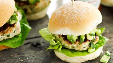 Lemon grass chicken sliders with avocado salsa