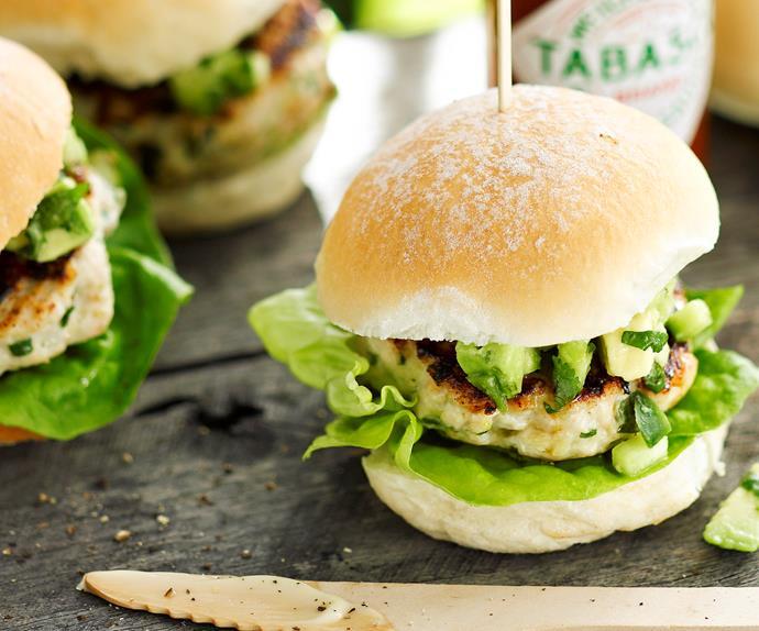 Lemon grass chicken sliders with avocado salsa