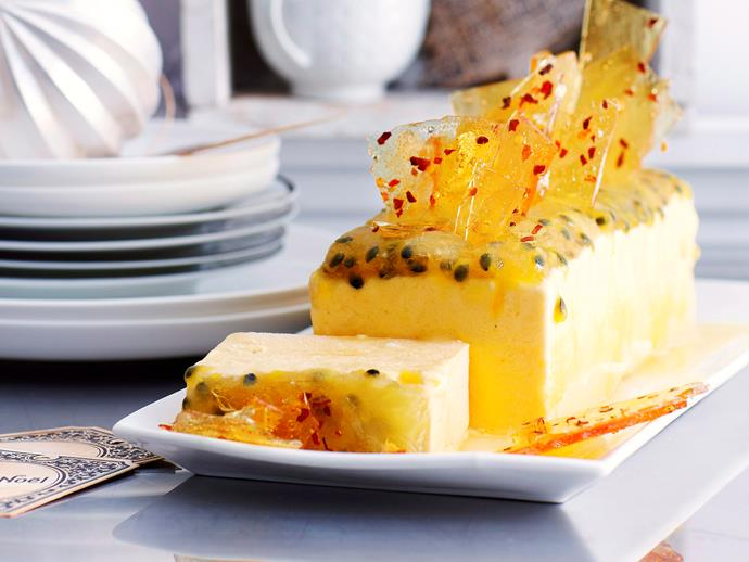 """**[Mango and passionfruit parfait with chilli glass](https://www.womensweeklyfood.com.au/recipes/mango-and-passionfruit-parfait-with-chilli-glass-23798