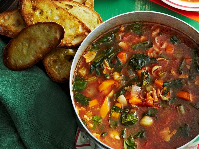 "**[Hearty minestrone](https://www.womensweeklyfood.com.au/recipes/traditional-minestrone-27105|target=""_blank"")**  You'll want to get cosy on the couch with a warm bowl of this."
