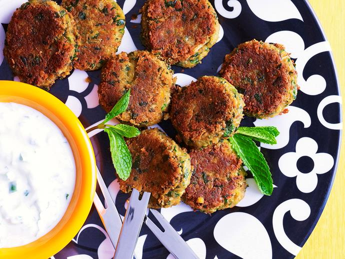 "**[Mini falafel with cucumber yoghurt](https://www.womensweeklyfood.com.au/recipes/mini-falafel-with-cucumber-yoghurt-23801|target=""_blank"")**"