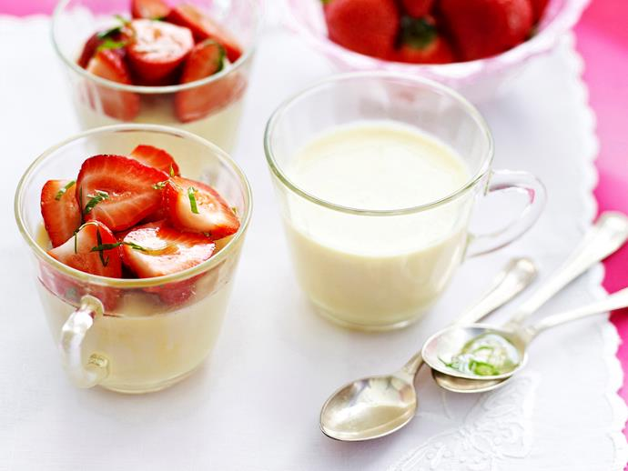 """**[Panna cotta with strawberries and lemon basil syrup](https://www.womensweeklyfood.com.au/recipes/panna-cotta-with-strawberries-and-lemon-basil-syrup-23805