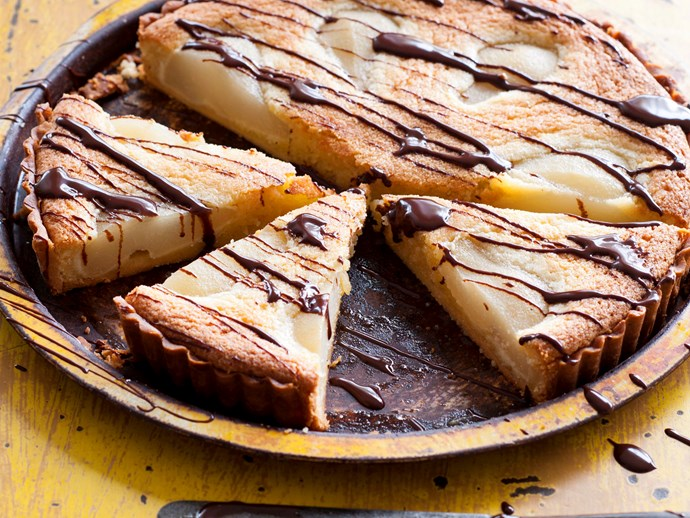 Poached pear tart with warm chocolate sauce