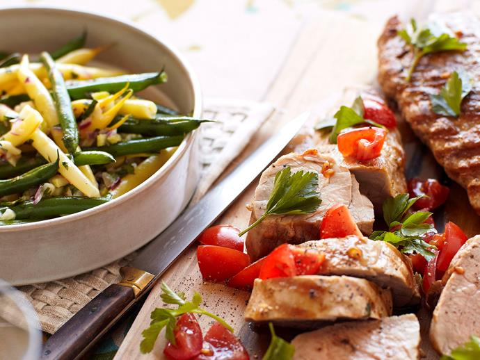 """**[Pork fillet with warm bean salad](https://www.womensweeklyfood.com.au/recipes/pork-fillet-with-warm-bean-salad-23812
