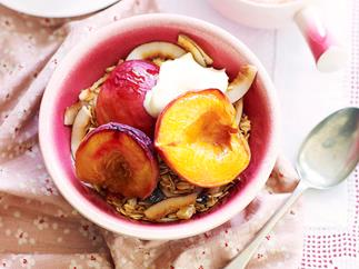 Roasted peach and nectarine compote