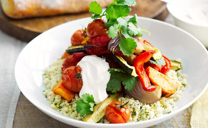 Roasted Vegetables with couscous and spiced yogurt