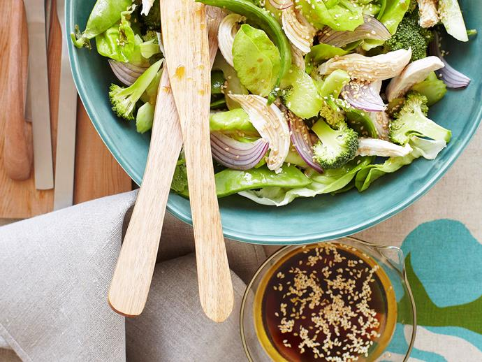 "**[Warm asian chicken salad with sesame dressing](https://www.womensweeklyfood.com.au/recipes/warm-asian-chicken-salad-with-sesame-dressing-27121|target=""_blank"")**  Ideal as a healthy lunch or tasty side at work or home, this tender chicken salad with green vegetable and a burst of classic asian sesame dressing is sure to be a palette pleaser."