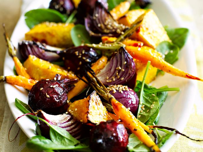 "**[Warm salad of root vegetables](https://www.womensweeklyfood.com.au/recipes/warm-salad-of-root-vegetables-27752|target=""_blank"")**  Ditch that old idea of salads as rabbit food and delight in this warm salad full of roasted root vegetables like beetroot, pumpkin and carrot."