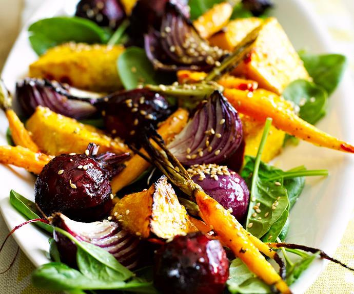 Warm salad of root vegetables