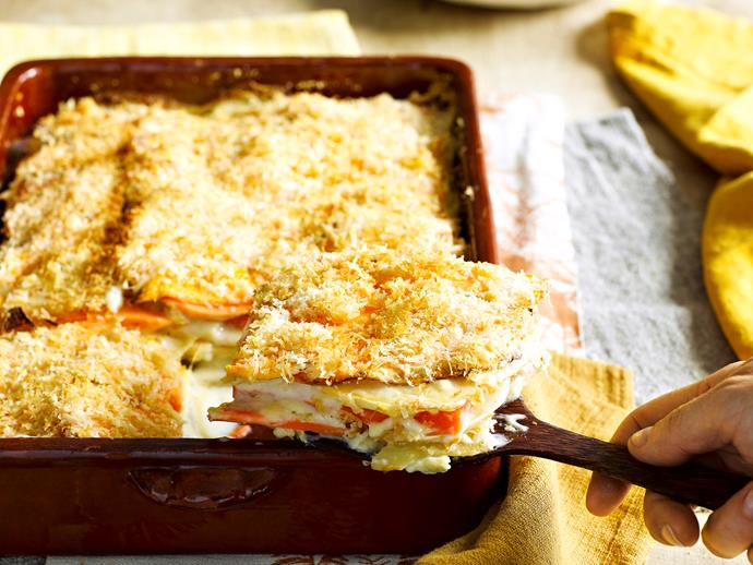 """This generous [vegetable gratin](https://www.womensweeklyfood.com.au/recipes/winter-vegetable-gratin-27731