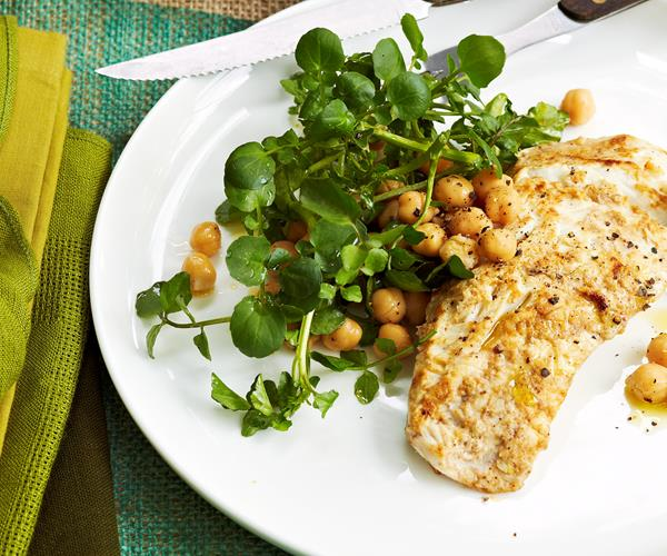 Yoghurt Marinated Fish With Chickpea And Herb Salad Recipe