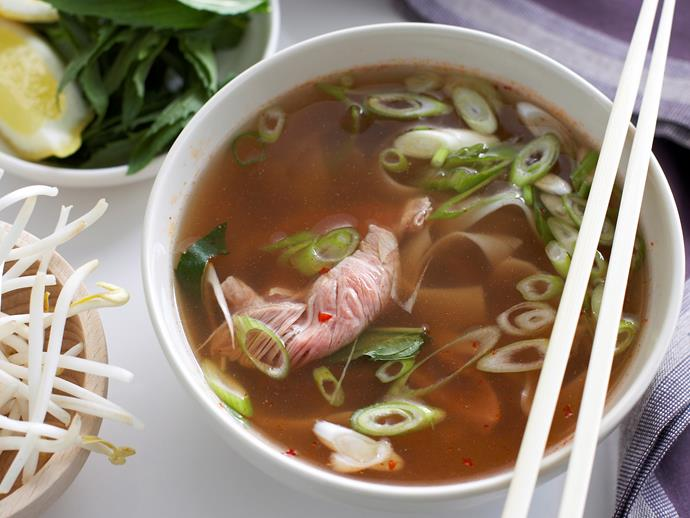 """**[Asian beef and rice noodle soup](https://www.womensweeklyfood.com.au/recipes/asian-beef-and-rice-noodle-soup-27435