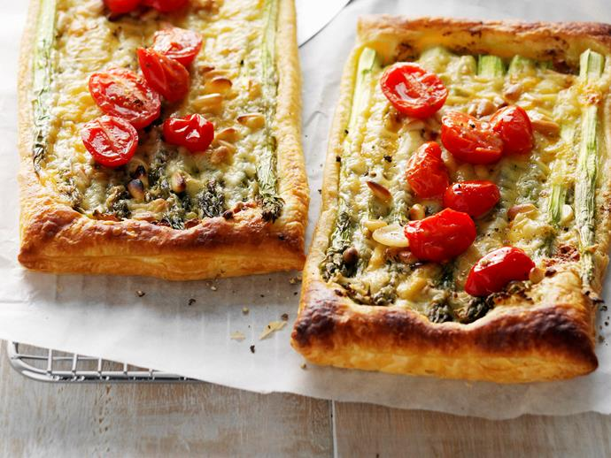 "**[Asparagus, cheese and tomato tarts](https://www.womensweeklyfood.com.au/recipes/asparagus-cheese-and-tomato-tarts-27127|target=""_blank"")**  Topped with asparagus, melted cheese and roasted tomatoes, these moreish tarts are great on their own as a warm snack or paired with a crisp green salad for lunch."