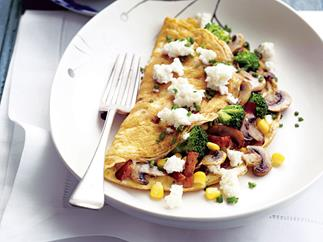 Bacon, Corn, Chive and Ricotta Omelettes
