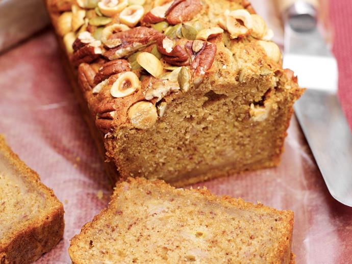 "The [deliciously dense loaf](https://www.womensweeklyfood.com.au/recipes/banana-bread-with-nuts-27130|target=""_blank"") is perfect for an afternoon treat (or morning, we won't judge). Crunchy pecans contrast with the soft, moist texture of this banana bread making it all-round winner."