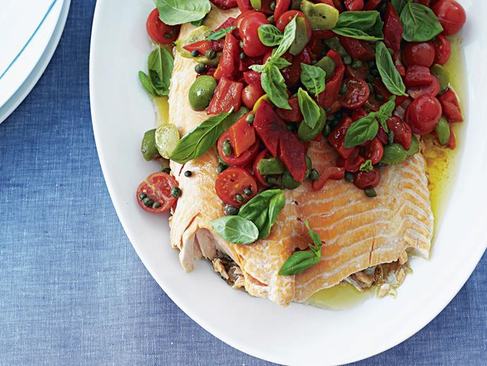 "**[Barbecued salmon with capsicum and olive salsa](https://www.womensweeklyfood.com.au/recipes/barbecued-salmon-with-capsicum-and-olive-salsa-27131|target=""_blank"")**  This beautiful seafood dish is perfect for entertaining guests. Moist, flaky salmon is beautiful topped with a fragrant olive, capsicum and basil salsa."