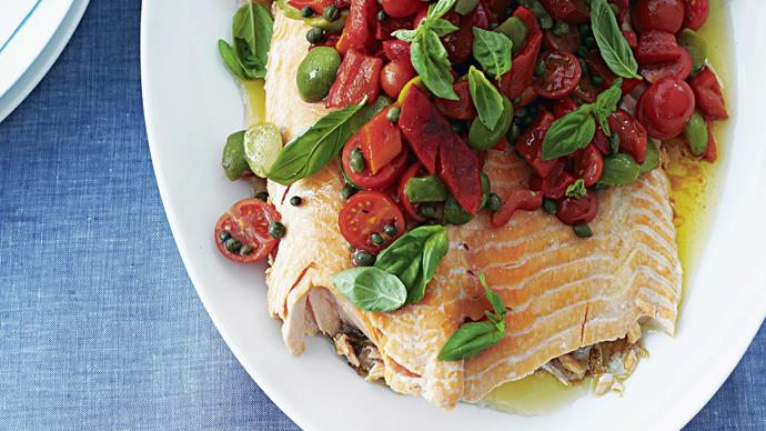 Barbecued Salmon with Capsicum and Olive Salsa