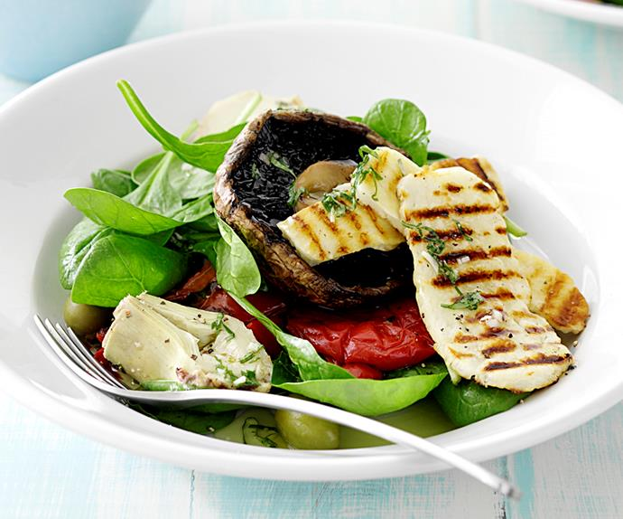 Barbecued Vegetables and Haloumi with Lemon Basil Dressing