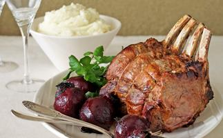 Beef Rib Roast with Potato Puree and Roasted Beetroot