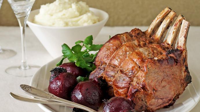 Beef Rib Roast with Potato Puree and Roasted Beetroot