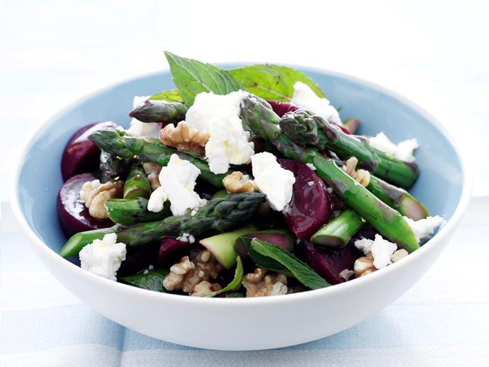 """[Beetroot, asparagus and feta salad](https://www.womensweeklyfood.com.au/recipes/beetroot-asparagus-and-feta-salad-27738