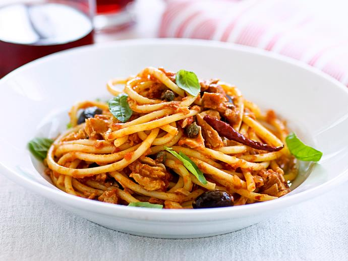 "[**Bucatini puttanesca**](https://www.womensweeklyfood.com.au/recipes/bucatini-puttanesca-with-tuna-28289|target=""_blank"")  Add some spice to your life with this chilli pasta, complete with olives, capers and juicy chunks of tuna."
