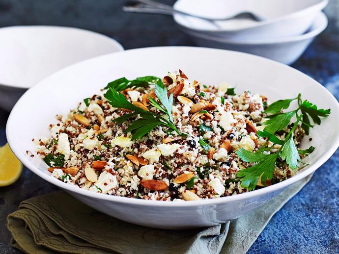 "**[Cauliflower 'couscous'](https://www.womensweeklyfood.com.au/recipes/cauliflower-couscous-27301|target=""_blank""):** Infusing quinoa with nuts, feta, currents, herbs and a lemon twinge, gives this superfood nutrition. Hearty enough to enjoy as a main or serve alongside your favourite meat."