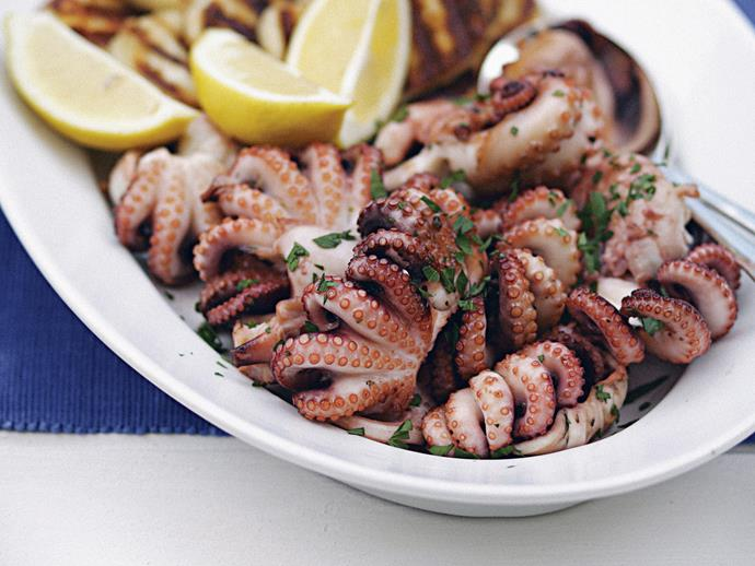 "**[Greek char-grilled octopus (octapothi sta karvouna)](https://www.womensweeklyfood.com.au/recipes/greek-char-grilled-octopus-octapothi-sta-karvouna-23837 target=""_blank"")**"