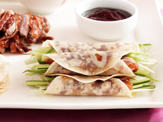 """**[Cheat's peking duck pancakes](https://www.womensweeklyfood.com.au/recipes/cheats-peking-duck-23839