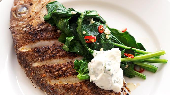 Chermoula-Rubbed Snapper with Coriander Yoghurt Sauce