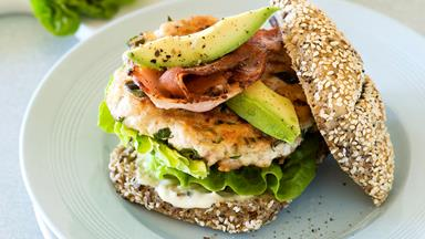 Chicken burger with avocado and bacon