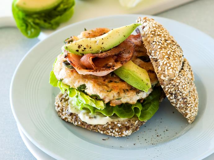 """**[Chicken burger with avocado and bacon](https://www.womensweeklyfood.com.au/recipes/chicken-burger-with-avocado-and-bacon-28249