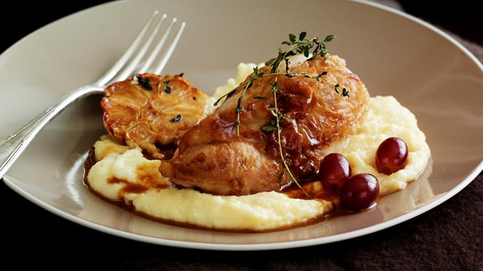 Chicken with Brandy and Grapes on Soft Polenta