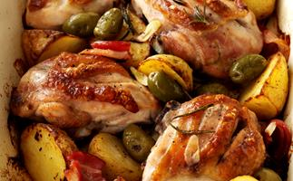 Chicken with Garlic Potatoes and Rosemary