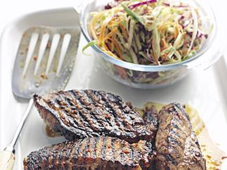 Chilli and Honey Barbecued Steak with Coleslaw