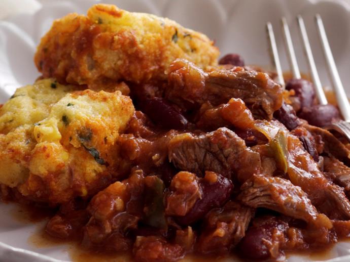 "**[Chilli con carne with corn dumplings](https://www.womensweeklyfood.com.au/recipes/chilli-con-carne-with-corn-dumplings-27161 target=""_blank"")**"