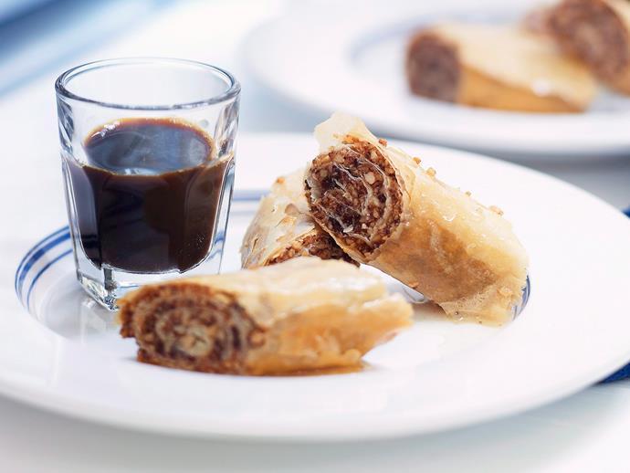 """**[Chocolate baklava rolls](https://www.womensweeklyfood.com.au/recipes/chocolate-baklava-rolls-23853 target=""""_blank"""")**"""