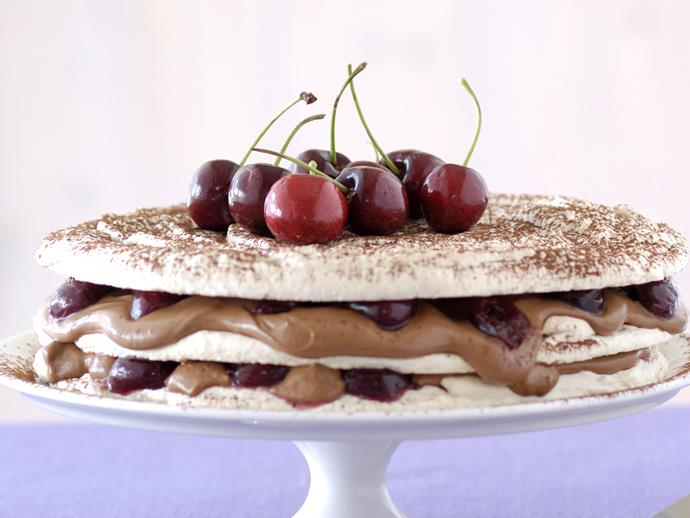 """**[Chocolate cherry dacquoise](https://www.womensweeklyfood.com.au/recipes/chocolate-cherry-dacquoise-27164