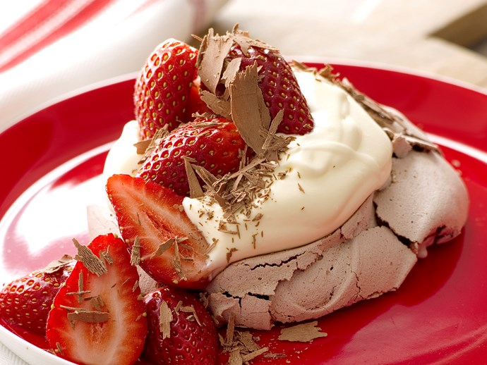 Chocolate Pavlovas with Strawberry Compote