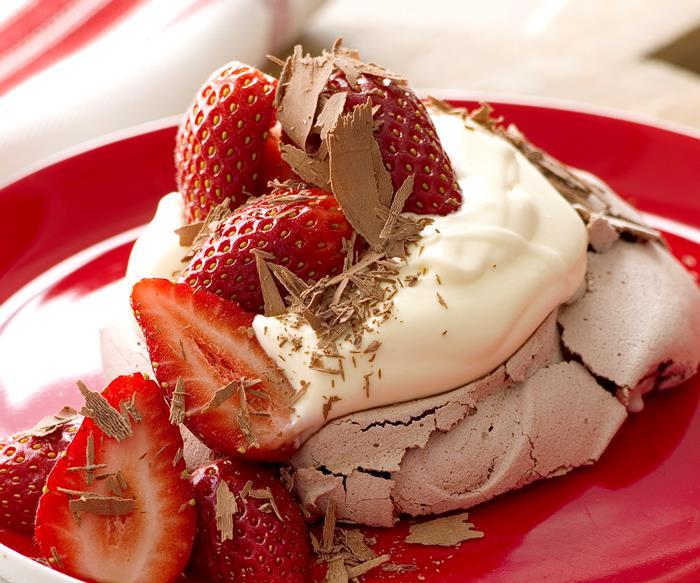 Chocolate Pavlovas with Strawberry Compote