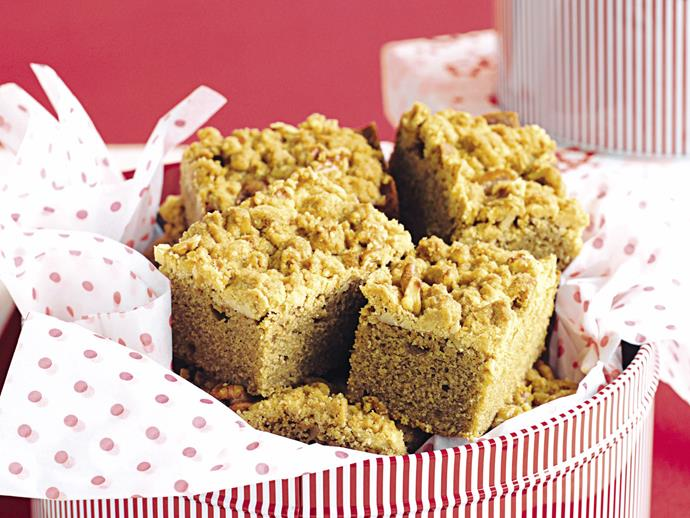 "**[Coffee walnut streusel cake](https://www.womensweeklyfood.com.au/recipes/coffee-walnut-streusel-cake-27657|target=""_blank"")**  You won't believe this delicious cake has only five ingredients. The moist coffee walnut cake is set off with a crunchy streusel topping."