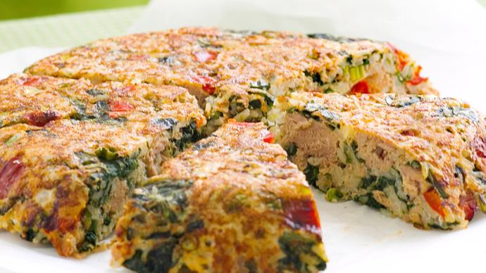 Crispy Spinach and Tuna Rice Cake