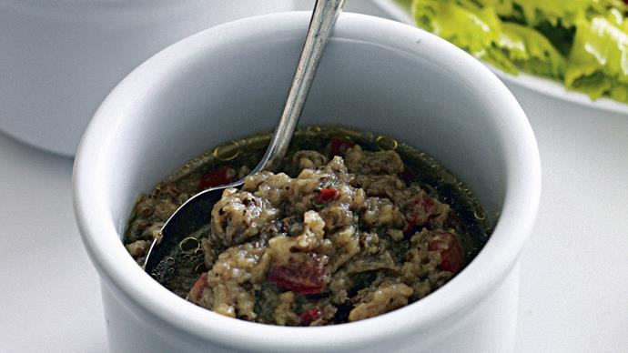 Crudites with Roast Capsicum Dip and Eggplant Caviar
